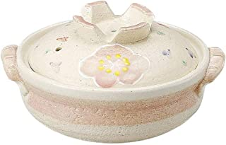 l.e.i. Japanese Donabe Hot Pot,Round Ceramic Casserole with Lid,Printed Earthenware Clay Pot,Clay Rice Cooker,Heat-Resista...
