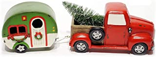 Special T Imports Resin LED Pick Up Truck with Camper - Holiday Christmas Decor