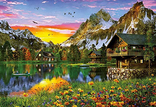 Anwei 1000 PCS Jigsaw Puzzles,Rural Scenery,Country Landscape,Spring,Lake,Nature.Fun Family Games...