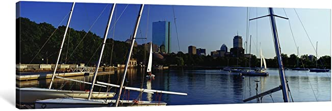"""iCanvasART 1 Piece Sailboats in a river with City in The background, Charles River, Back Bay, Boston, Suffolk County, Massachusetts, USA Canvas Print by Panoramic Images, 36 x 12/0.75"""" Deep"""