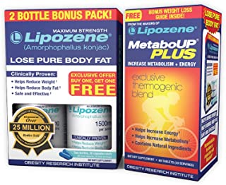 Lipozene Weight Loss Pills Buddy Pack and MetaboUp Plus Thermogenic Supplement - Appetite Suppressant and Control