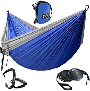 WINNER OUTFITTERS Double Camping Hammock - Lightweight Nylon Portable Hammock, Parachute Double Hammock for Backpacking, Camping, Travel, Beach, Yard.