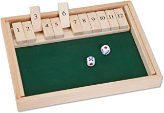 Bits and Pieces - Wooden Shut The Box 12 Dice Game Board - Classic Tabletop Version of The Popular English Pub Game - Measures 7-3/4