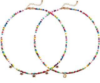 Boho Necklace Anklets for Women Rainbow Seed Beaded Choker Necklace Pendant Handmade Chain Necklace for Teen Girls