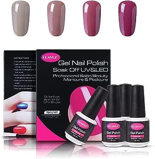 CLAVUZ Soak Of UV LED Gel Nail Polish,4pcs Nude Colors Collection Kit New Start Manicure Nail Art Kits Gift Sets