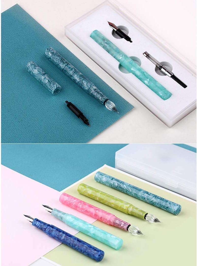 rosa penna con firma da viaggio in materiale acrilico tascabile SIPLIV penna a doppio scopo pennino in vetro e penna stilografica pennino fine in iridio con convertitore di inchiostro
