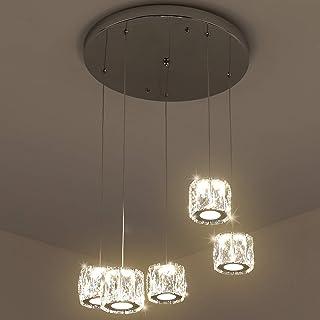 Temgin Lámpara de Techo Cristal Blanco cálido Araña de cristal de 5 luces LED Moderno Lámpara de Araña Altura ajustable 3000K Lámpara Colgante Iluminación Interior 2000LM