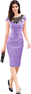 Women's Embroidered Dobby Fabric Ruched Bodycon Party Pencil Dresses