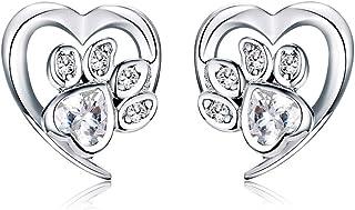 Regalo di Natale Orecchini a perno in argento Sterling 925 con impronta di zampa di gatto e zirconi cubici, gioielli da do...