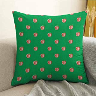 Apple Microfiber Abstract Apples Summer Season Yield on Green Backdrop Healthy Life Choices Sofa Cushion Cover Bedroom car Decoration W16 x L16 Inch Coral Lime Green
