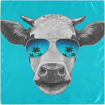 VVIEER Home Decor Oversized 6 Pack 20x20 Inches Fashion Animal Cow Glassess Washable Square for Dinner Table