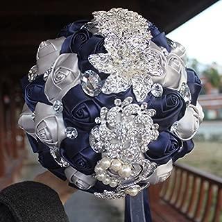 Hand Made Silk Rose Wedding Bouquet,Rhinestone Brooch Wedding Bouquets Customization Pearls Bride Holding Flowers (Navy Blue+Silver)