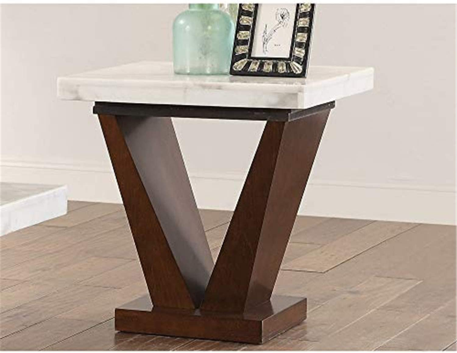 Acme Forbes End Table White Marble Walnut Furniture Decor