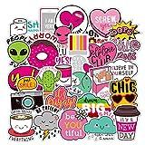 Cute Water Bottles Stickers for VSCO Girls(44 Pack) - Laptops Sticker for Teens Feminist - Aesthetic Trendy Waterproof Vinyl Sticker Pack for Hydro Flask Tumbler Cameras Phone Luggage Graffiti Decal