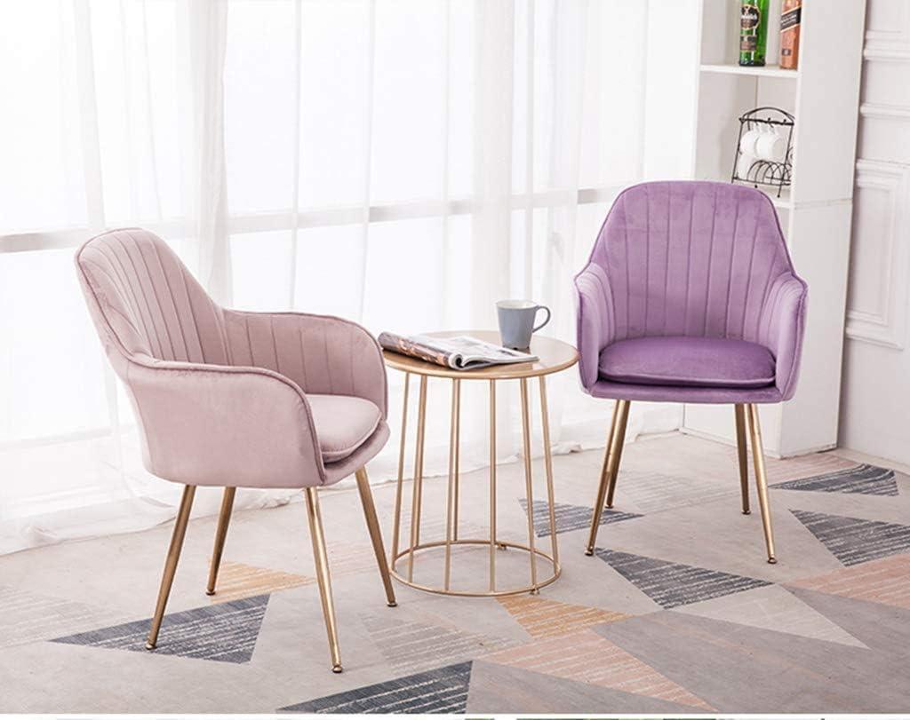 GSN Flanelle Tub Chair, Chaise salle à manger moderne Meubles de loisirs, Coussin amovible et lavable, de charge élevée en titane d'or Leg fauteuils (Color : Blue) Purple