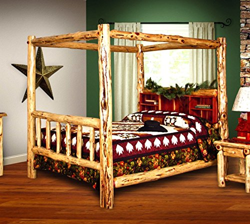 cool king size canopy log bed