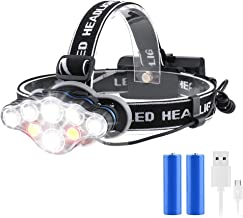 Rechargeable Headlamp, 8 Modes Multi-Function Headlight Flashlight 18000 Lumens, Waterproof Head Torch Heads Light with Re...