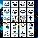 Halloween Stencils Template-20 Pcs Reusable Plastic Craft Drawing Painting Template for...