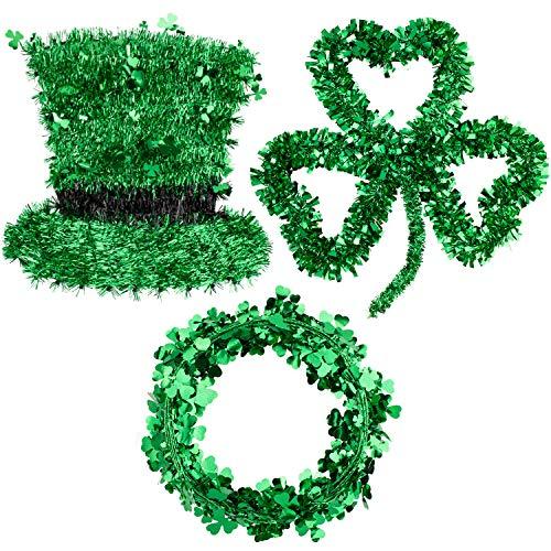 Whaline - Guirnalda de espumillón verde para el día de San Patricio incluye corona de trébol, guirnalda de alambre y sombrero de duende para decoración de pared irlandesa de San Patricio