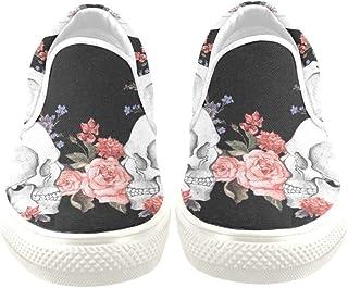 Artsadd Custom Sneaker Watercolor Flower Skull Women Unusual Slip-on Canvas Shoes