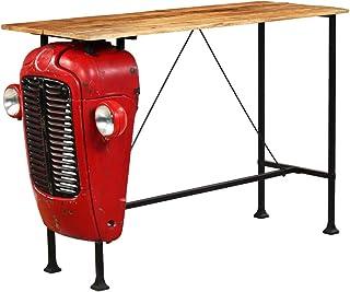 binzhoueushopping Table de bar en bois massif 60 x 150 x 107 cm Rouge Table Salle à manger Table à manger moderne