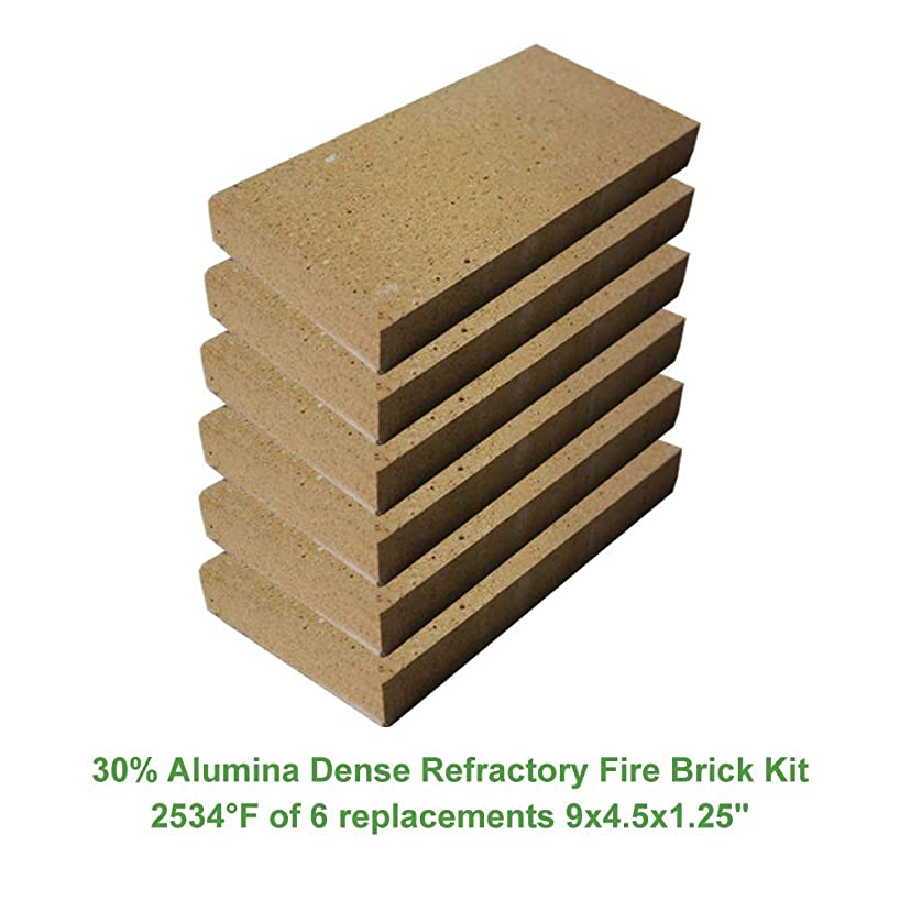 30% Alumina Dense Refractory Fire Brick Kit 2534°F of 6 Replacements for stoves, fire pits and Pizza ovens 9
