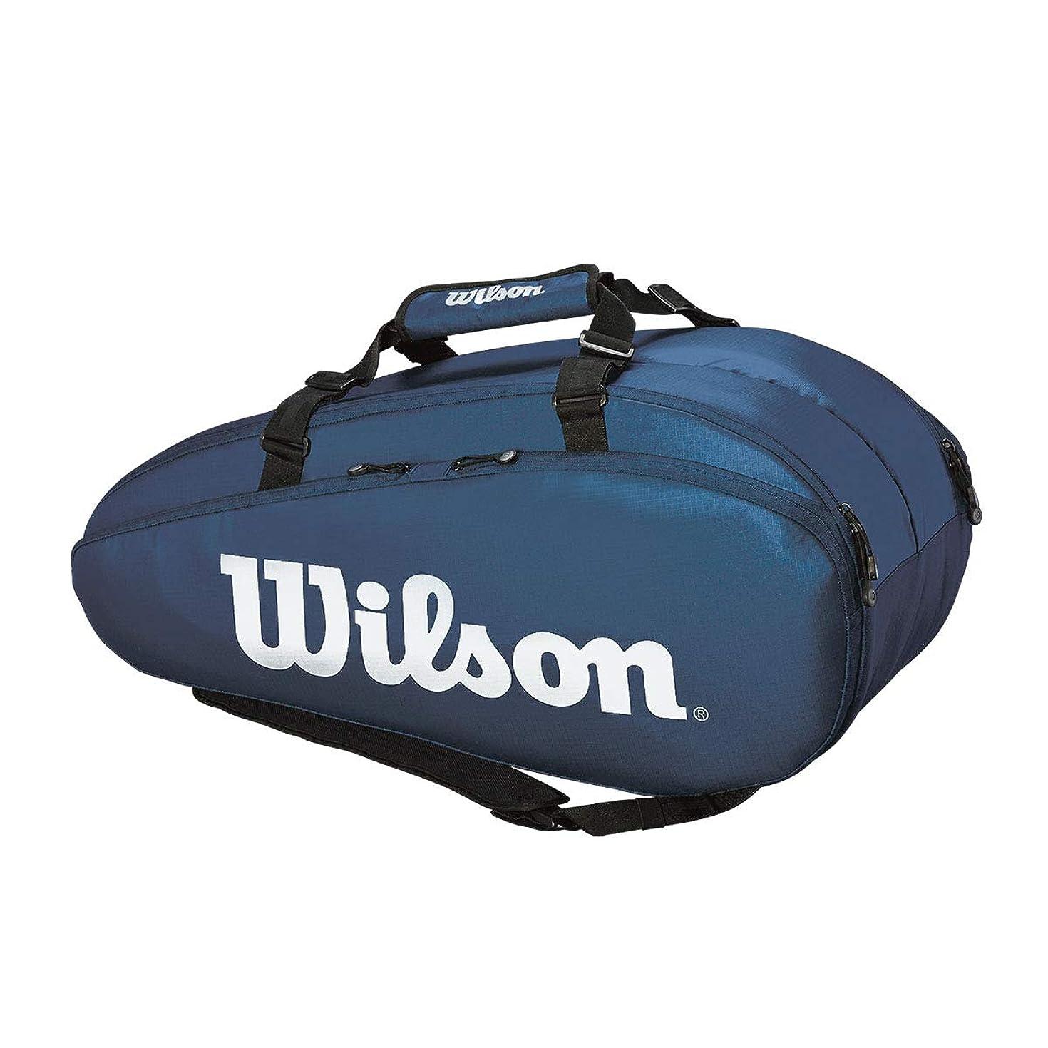 ピアノ消毒する仕えるWilson(ウイルソン) テニス バドミントン ラケットバッグ TOUR 2 COMP LARGE(ツアー2コンプラージ) ラケット9本収納可能 WR8004002001 ネイビー/ホワイト
