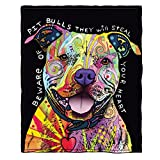 Dawhud Direct Dean Russo Beware of Pit Bulls They Will Steal Your Heart Super Soft Plush Fleece Throw Blanket