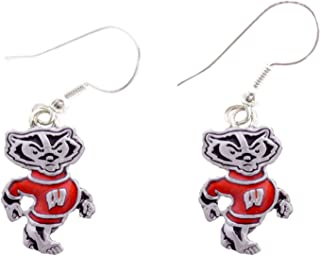 Wisconsin Badgers Iridescent Red White French Hook Earring Jewelry