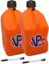 2 Pack VP 5 Gallon Square Orange Racing Utility Jugs with 2 Deluxe Filler Hoses