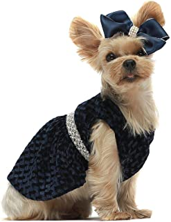 Fitwarm Luxury Dog Dresses for Pet Clothes Party Gowns Evening Prom Dress + Matching Hair Clip Blue