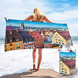 """Ahuimin Beach Towels, City,German Town Nuremberg Skyline, 27.5"""" x 55"""" Super Absorbent Quick Fast Drying Soft Eco-Friendly Towels for Body Bathroom Travel"""