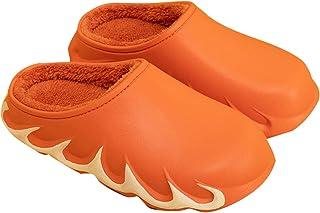 Diirm Pantoufles d'hiver avec motif de flamme pour l'hiver chaud et durable