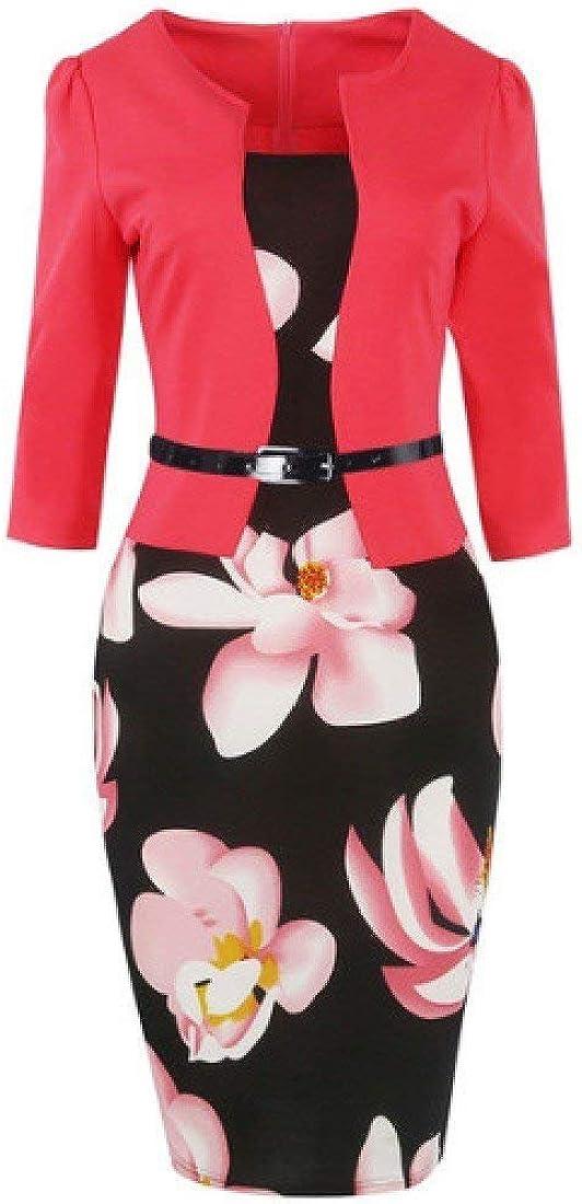 Vgvgh Women Office 2-Piece Slim Fit Floral Printed Mini Beach Dress Casual Dress
