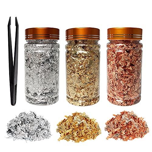 KIRIN Imitación de copos de hojas de oro / plata, 9 g de copos de cobre / aluminio, 3 botellas de copos de lámina metálica para dorado, pintura, manualidades, decoración de uñas y bricolaje