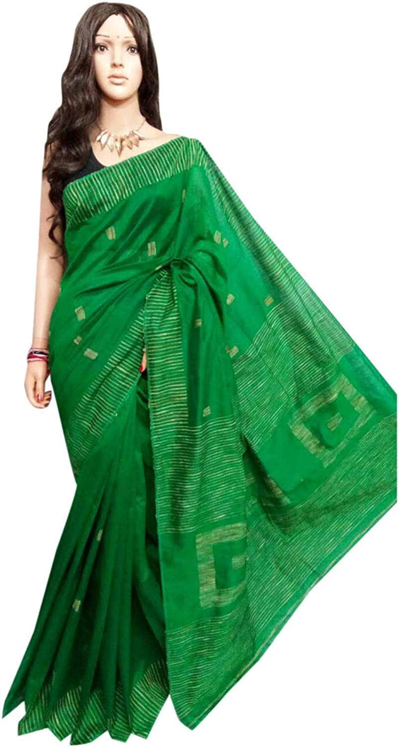 Indian Saree Ethnic Royal Green Handloom Designer Collection Sari Party Formal Women Wear 108a