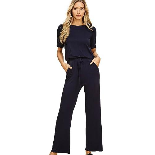 33518a27 Annabelle Women's Casual Short Sleeve Jumpsuit Elastic Waist Wide Leg  Romper Pants with Pockets