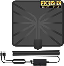 TV Antenna, Indoor Digital HDTV Amplified Antennas Freeview 4K HD VHF UHF for Local Channels 130+ Miles Range with Switch Amplifier Signal Booster Support All TV's-16.5ft Coax Cable (Black)