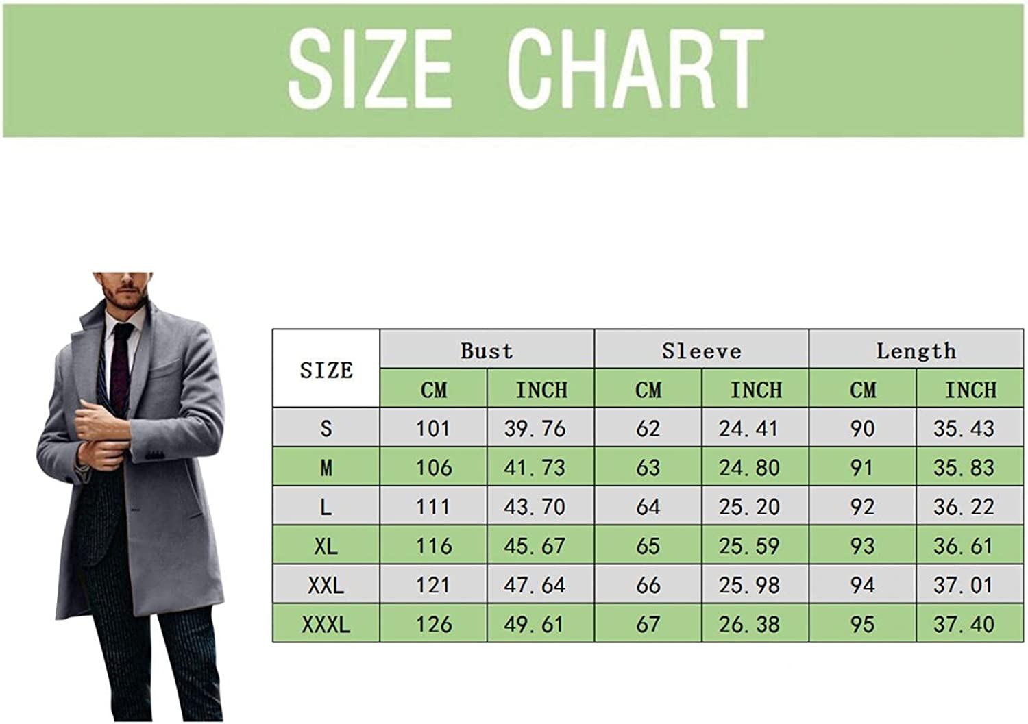 XUNFUN Mens Wool Blend Trench Coat Classic Fit Casual Notch Lapel Mid-Length Single Breasted Business Pea Coat Topcoat