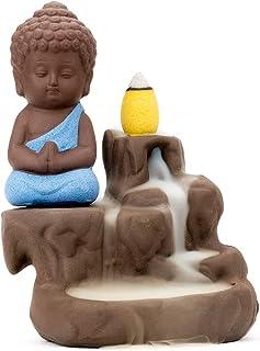 Incense Burner Smoke Waterfall Backflow Holder Ceramics Porcelain Buddha Little Monk Tower Cones Sticks Ash Catcher with 2...