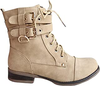 Womens Winter Combat Boots Mid Calf Lace-up Buckle Strap Side Zipper Low Heel Vintage Shoes