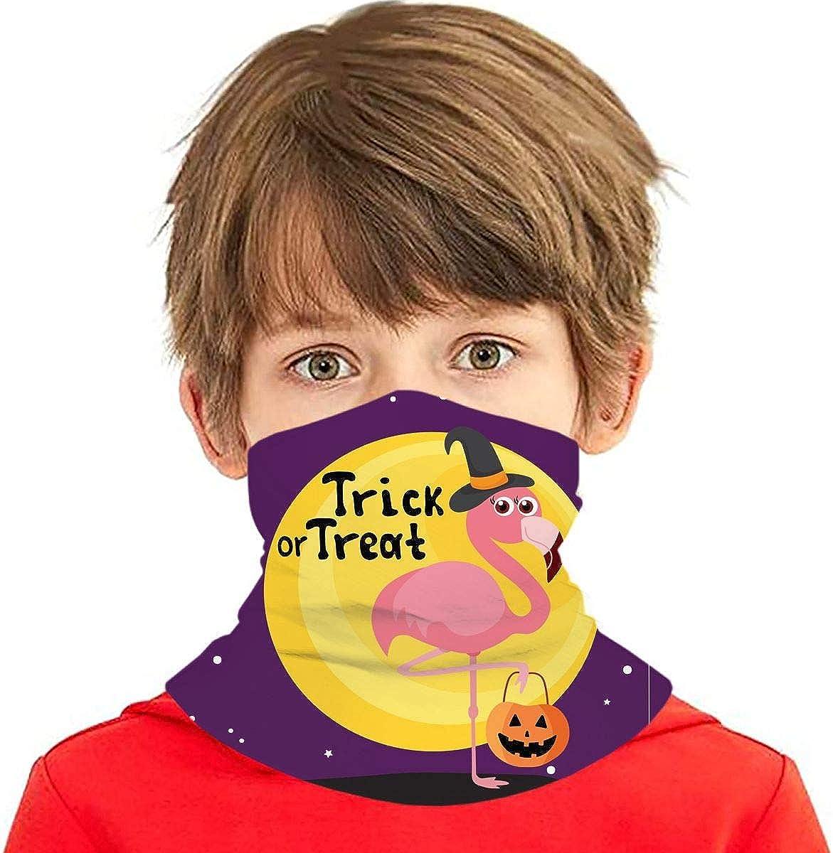 Dujiea Kids Bandanas Face Mask, Halloween Flamingo Pumpkin Dust Sun UV Protection Neck Gaiter Multifunctional Balaclava Face Scarf Summer Tube Headband Lightweight for Boys Girls Outdoors
