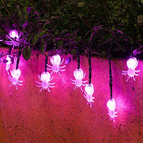 LED-Lampe String Hut Kürbislicht Zeichenkette Geist Zeichenkette Spinne Laterne Halloween Laterne String Transparentes Gespenst