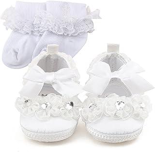 d5767e49c6a26 DELEBAO Blanc Chaussure Bebe Fille Baptême Pantoufle Bébé Chaussure Souple Bébé  Fille
