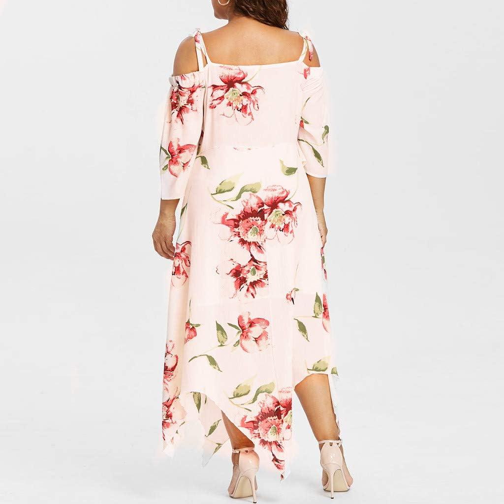 VJGOAL Damen Kleid, Frauen Plus Size Mode V-Ausschnitt Floral Maxi Abend Cocktail Party Hochzeit Boho Strand Frühling Sommerkleid S-drucken-beige