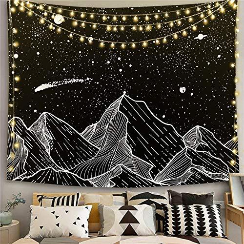 KHKJ Mandala Blanco Negro Sol y Luna Tapiz Colgante de Pared Tapices de chismes Alfombras de Pared Hippie Decoración de Dormitorio Manta Decoración para el hogar A20 200x150cm