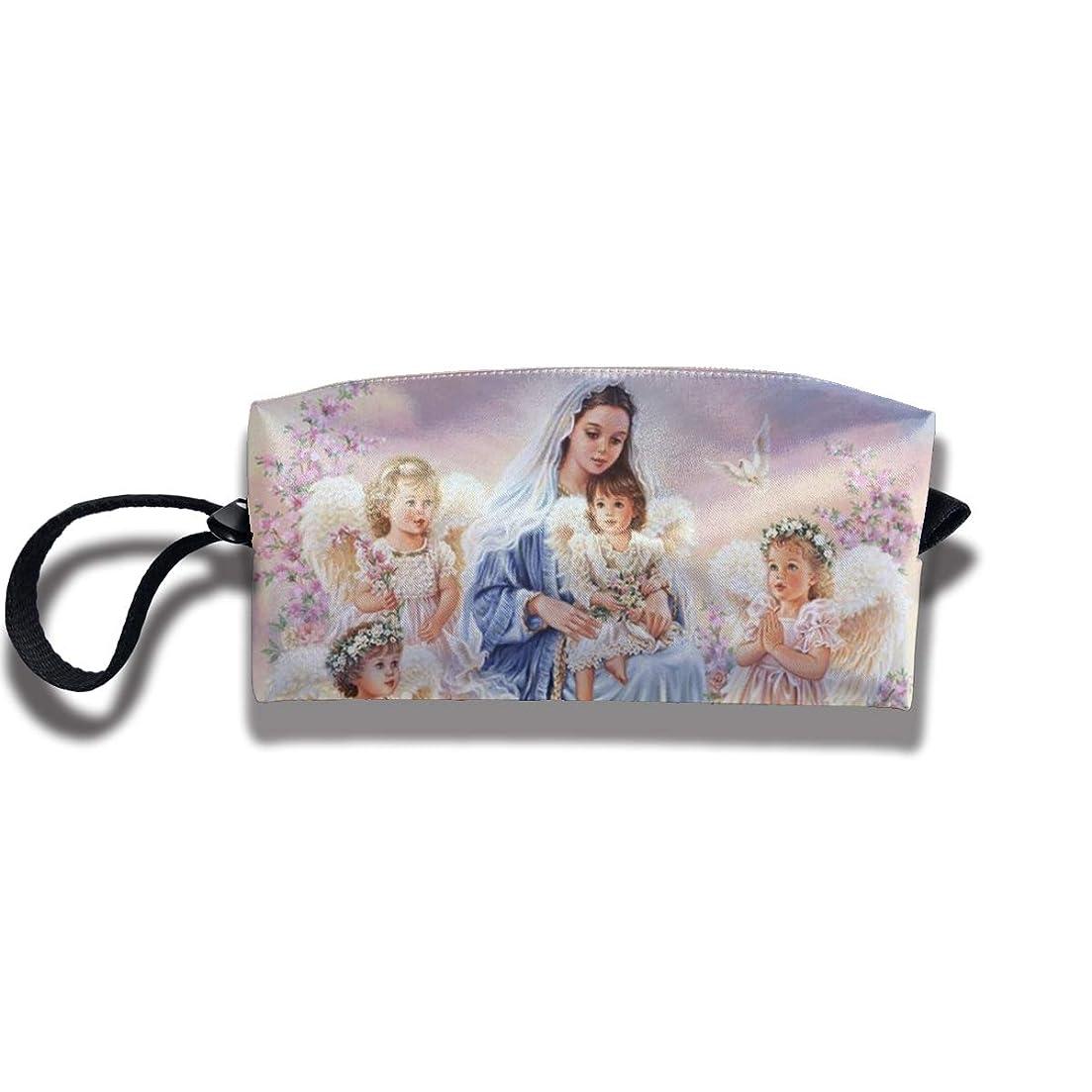 財団港教会聖処女と天使の赤ちゃん ペンケース文房具バッグ大容量ペンケース化粧品袋収納袋男の子と女の子多機能浴室シャワーバッグ旅行ポータブルストレージバッグ