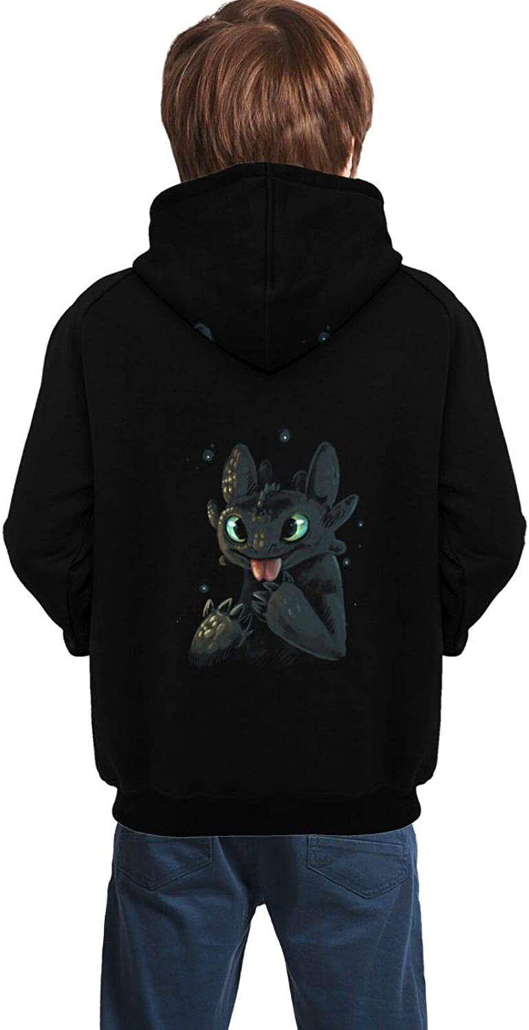 Bu5wola How to Train Your Dragon Cute Toothless Tongue 3D Print Teen Pullover Hoodies Casual Hooded Sweatshirts Tops with Pocket for Age5-14 Boys Girls 7-8 Years