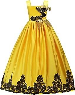 de2dcc7dabe6f HUANQIUE Elégante Robe en Dentelle Princesse Demoiselle Fille Robe de  Mariage Cérémonie Soirée Enfant Broderie Fleur