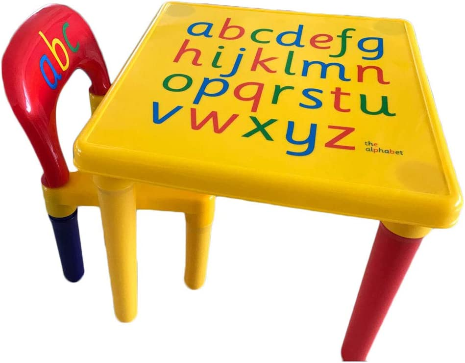YHNJI Kids Alphabet Table and Milwaukee Mall Chair Set Max 82% OFF Children Letter Activity